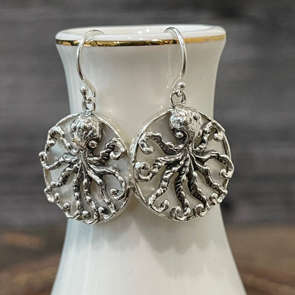 Sterling Silver Octopus Earrings