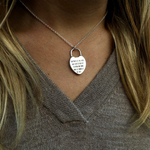 Happiness Lock Necklace - Sterling Silver
