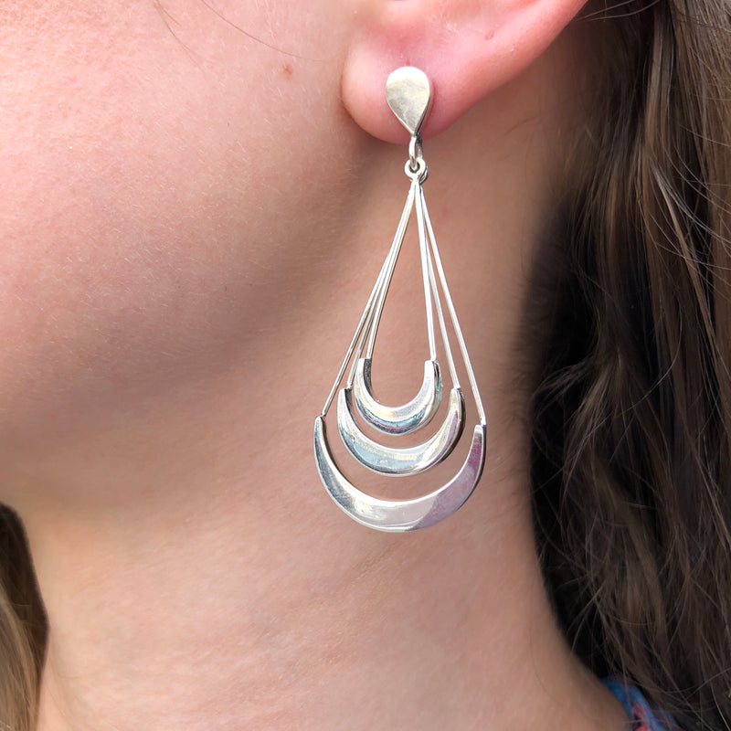 Sterling Silver Triple Drop Earrings
