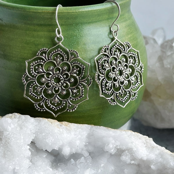 Sterling Silver Mandala Earrings