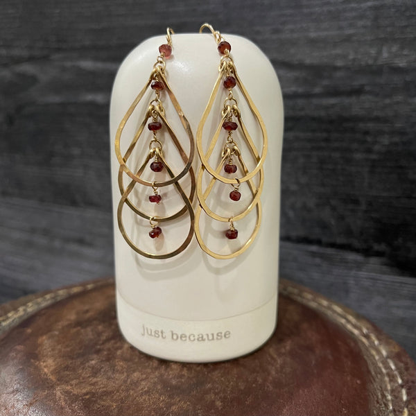 Cascading 14k Gold Filled Garnet Earrings