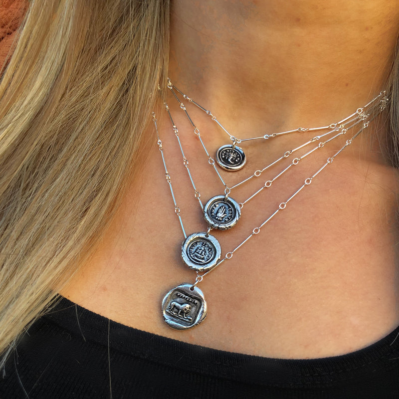 Sterling Silver Intaglio Necklace