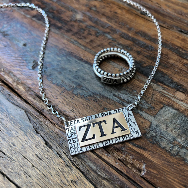 Greek Sorority Bar Necklace - 14k Gold Filled Sterling Silver