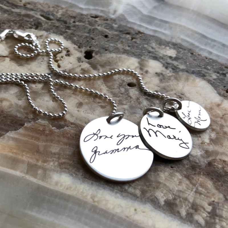 Handwritten Charms Necklace - Sterling Silver