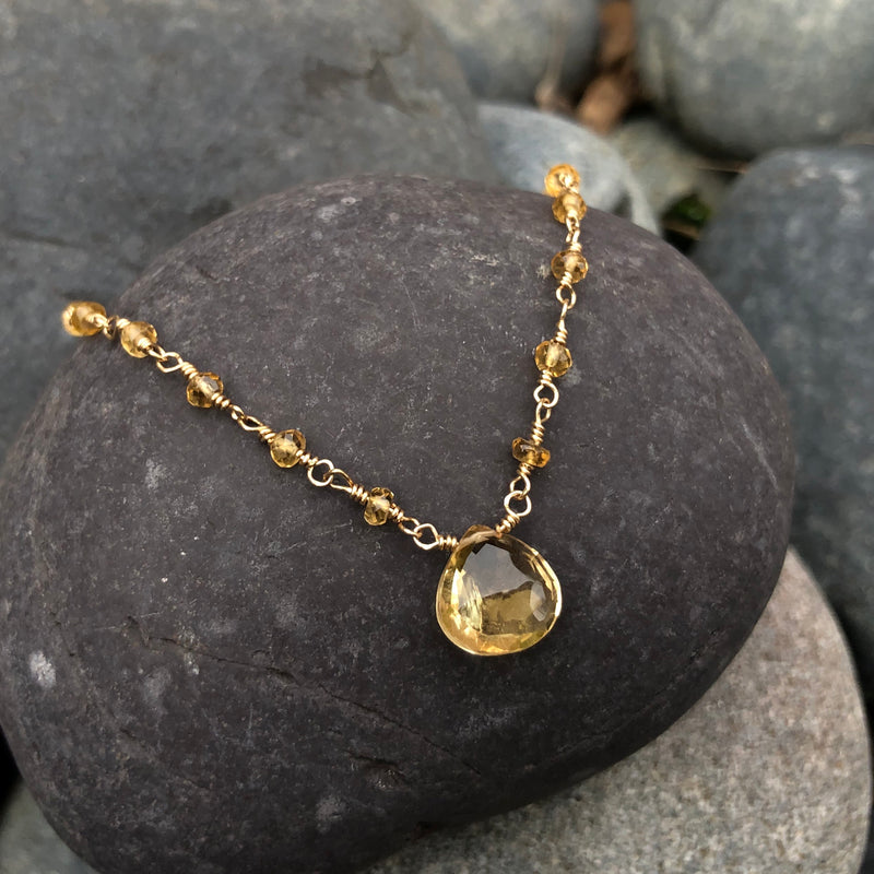 14k Gold Citrine Necklace