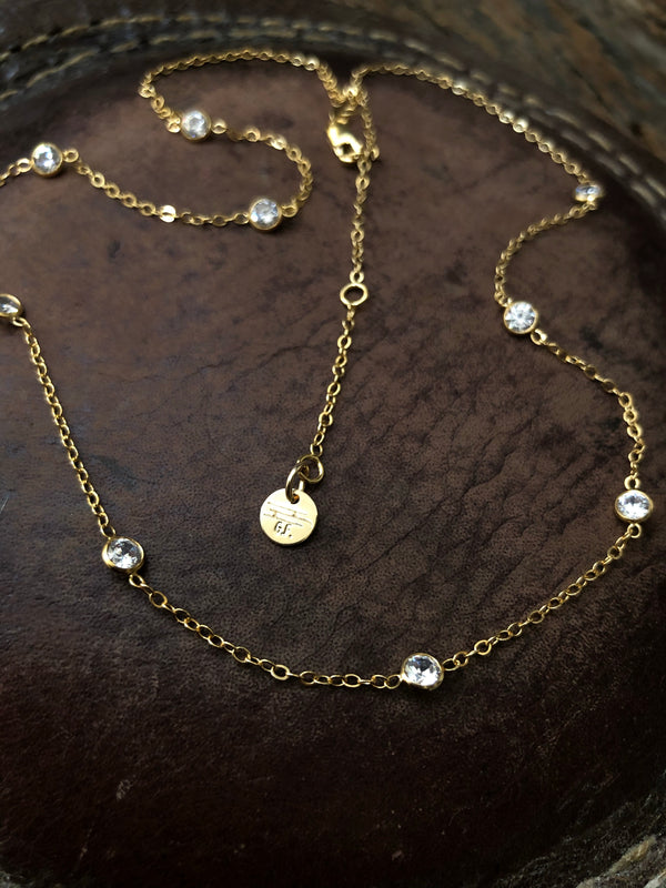 14k Gold Filled And Bezeled Crystal Necklace