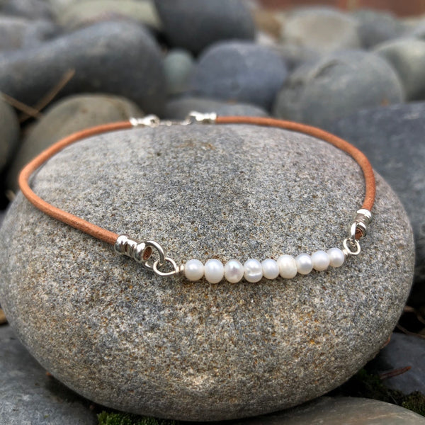 Tiny Freshwater Pearls Anklet - Sterling Silver & Greek Leather