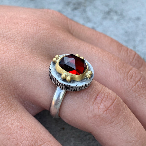 Red Garnet Fractured Ring - Sterling and 22k