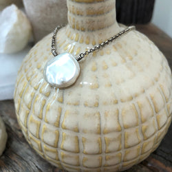 Sterling Silver Keshi Pearl Necklace