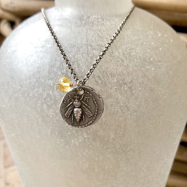 Sterling Silver Greek Bee Coin with Citrine Necklace