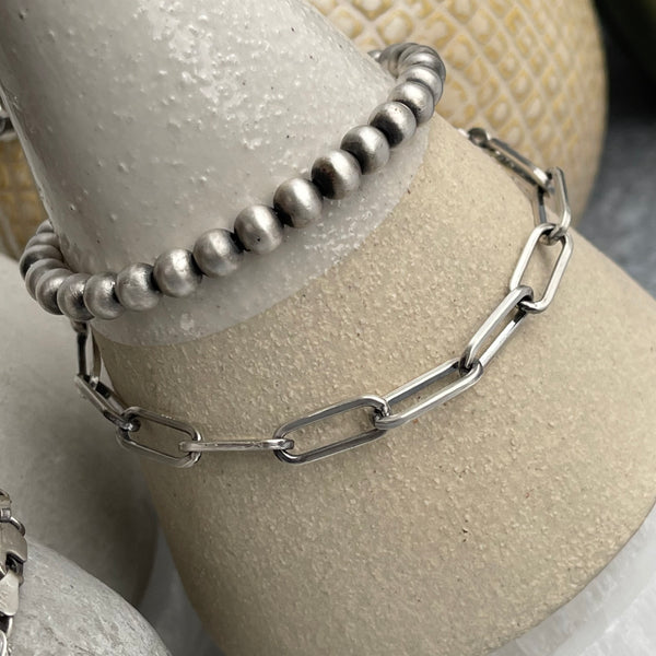 Sterling Silver Long Link Chain Bracelet