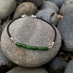 Green Jade Anklet - Sterling Silver & Greek Leather