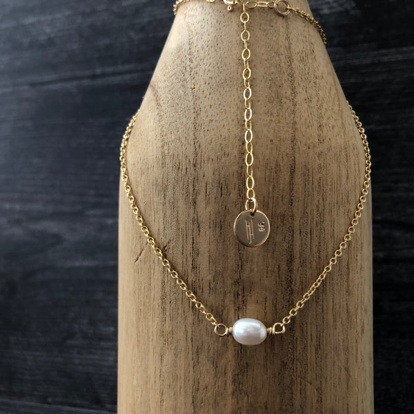 Simple 14k Gold Filled & Freshwater Pearl Necklace
