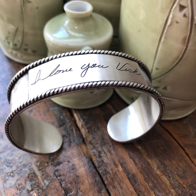 Sterling Handwritten Messages Cuff
