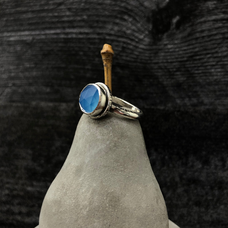 Faceted Blue Chalcedony Sterling Silver Ring