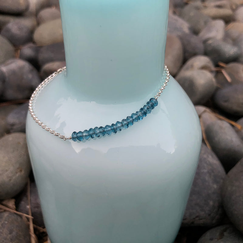 Sterling Silver & Apatite Anklet