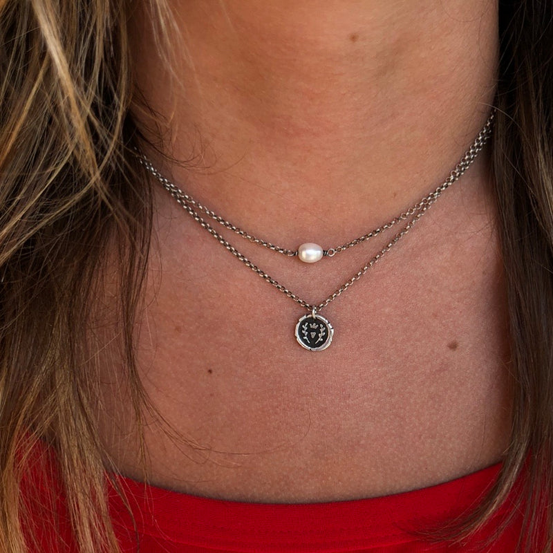 Tiny Love Wax Seal Necklace - Sterling Silver
