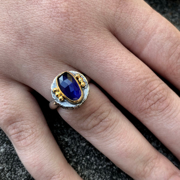 Blue Iolite Fractured Ring - Sterling and 22k
