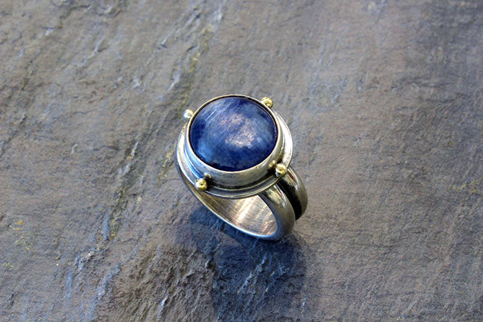 Kyanite Silver and Gold Ring