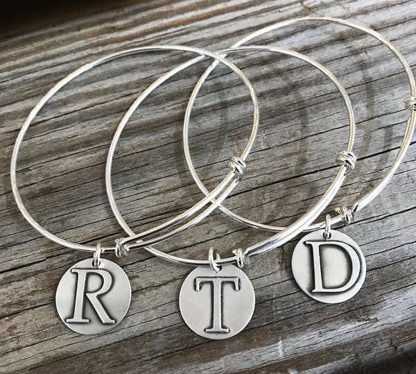 Expandable Sterling Initial Charm Bracelet