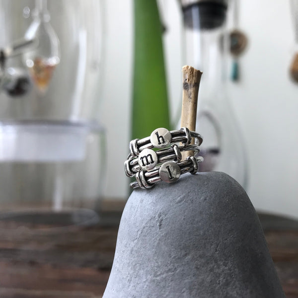 Sterling Lettered Wrap Ring