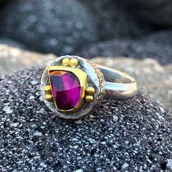 Magenta Rhodolite Garnet Fractured Ring - Sterling and 22k