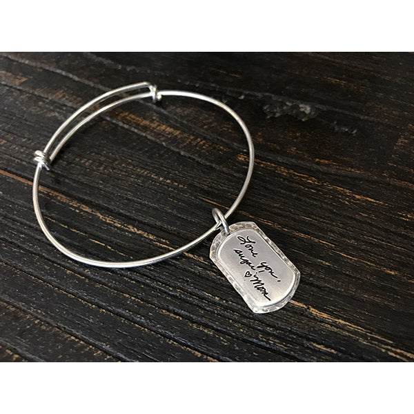 Sterling Mini Dog Tag Expandable Bracelet