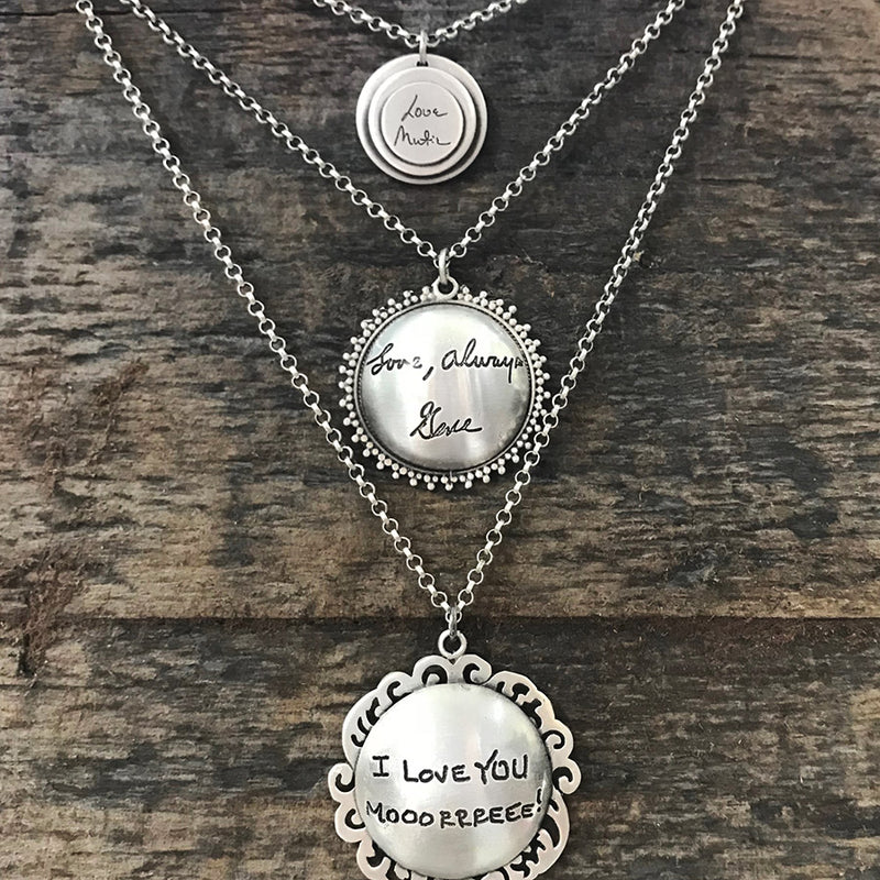 Tiny Handwritten Messages Necklace