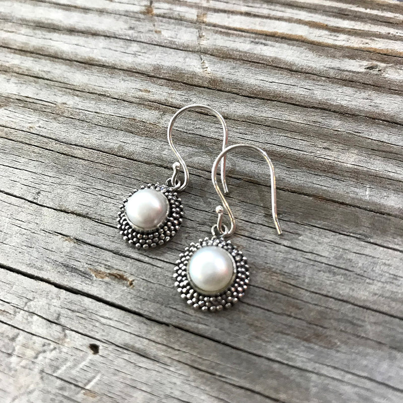 Pearl Dotted Sterling Drop Earrings