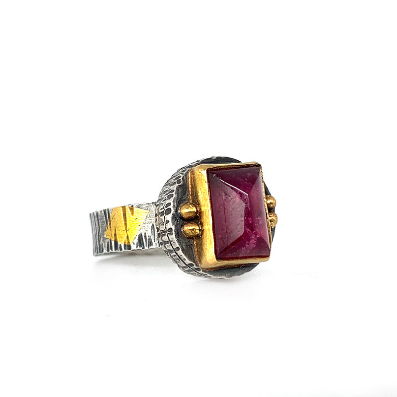 Pink Tourmaline Fractured Ring - Sterling and 22k