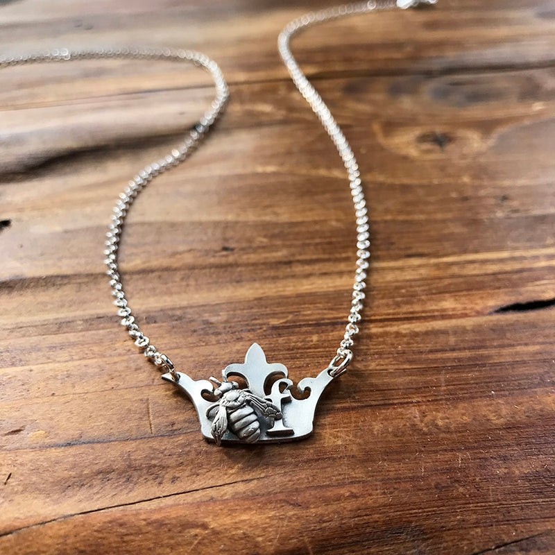 Personalized Queen Bee Necklace - Sterling Silver
