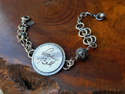 Sterling Handwritten Round Messages Chain Bracelet