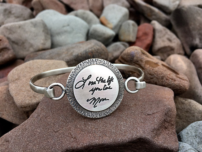 Sterling Handwritten Messages Round Bangle