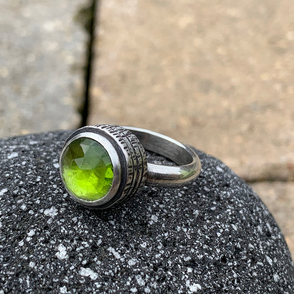 Green Peridot Fractured Ring - Sterling Silver