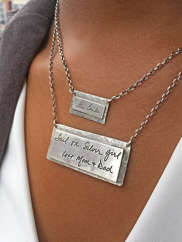 Large Handwritten Square Necklace
