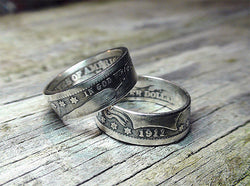 US Barber Quarter Silver Coin Ring