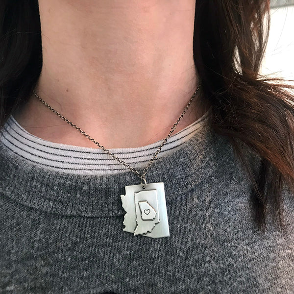 Stacked States Necklace - Sterling Silver