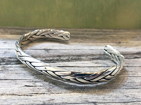 Sterling Silver Woven Cuff Bracelet - Quick Ship