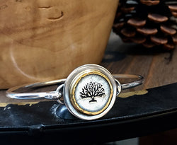 Silver and Gold Tree of Hope Bangle