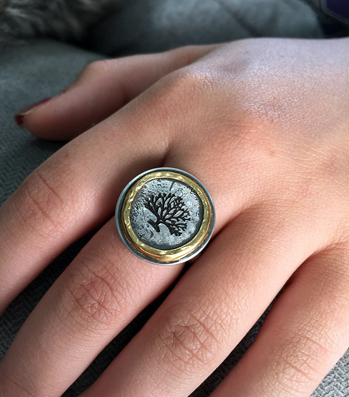 Silver and Gold Tree of Hope Ring