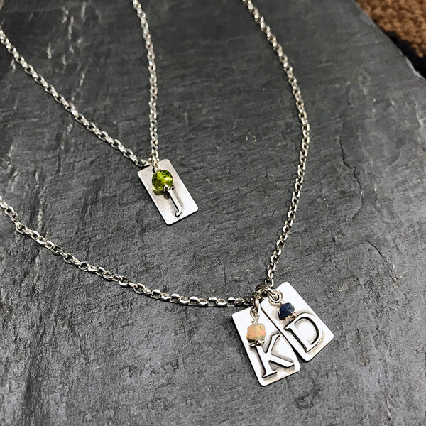We or Me Necklace™ - Sterling Silver with Birthstones
