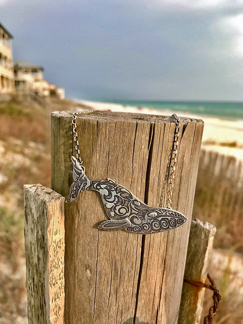 Hand Sketched Sterling Silver Whale Necklace