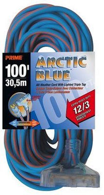 EXTENSION CORD 100FT 12/3 ARTIC BLUE
