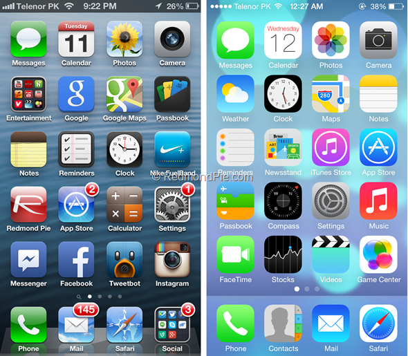 iOS 6 vs iOS 7 Home Screen differences
