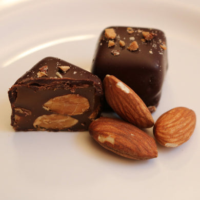 Roasted Almond Gourmet Caramel wrapped in dark chocolate