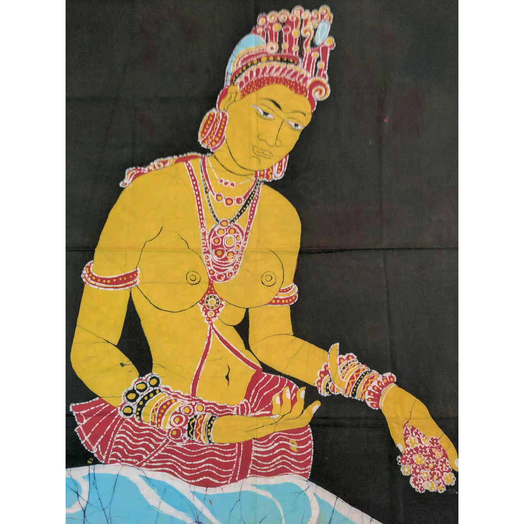 Sigiriya Apsara (Female Spirit of the Clouds & Water) Ancient Batik Art - ceylond