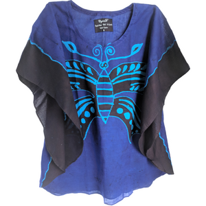Butterfly Blue Women Batik Top - ceylond