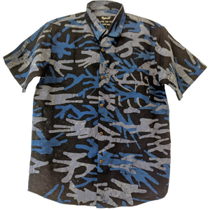 Camo Dark Blue Men Batik Shirt - ceylond