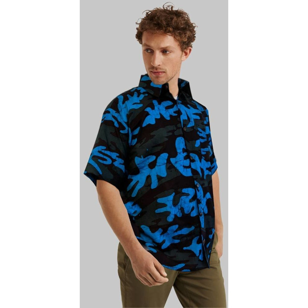 Camo Blue-Green Men Batik Shirt - ceylond