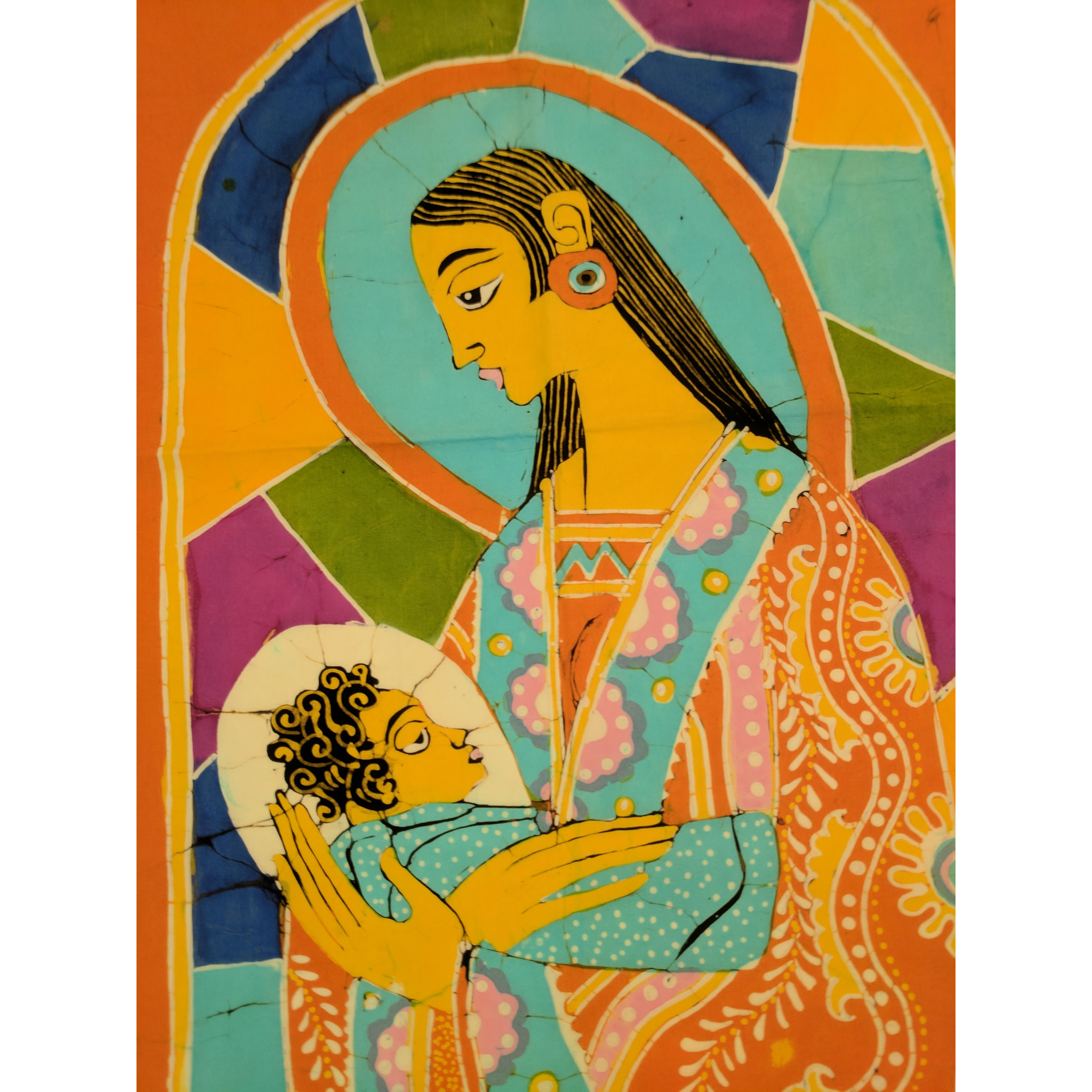 Mother Mary & Baby Jesus Batik Art - ceylond